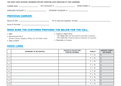 Call Center Prep Sheet