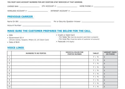 Call Center Prep Sheet