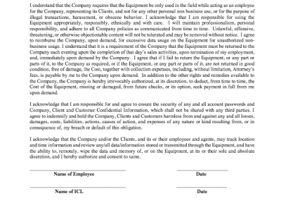 Equipment Usage Agreement w/prices